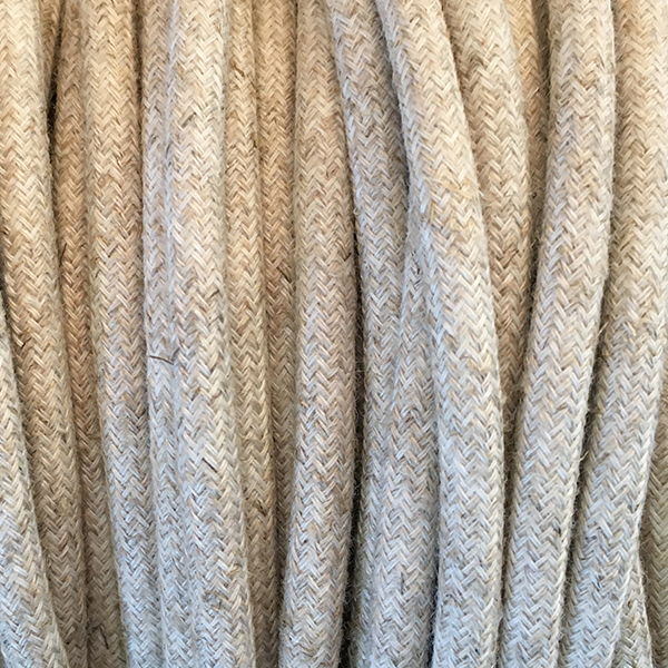 Cable textil blanco lino
